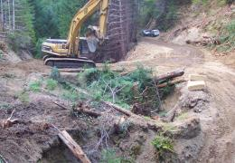 Before: This unculverted Humboldt (log) crossing was failing (see sink holes) and delivering eroded sediment downstream.