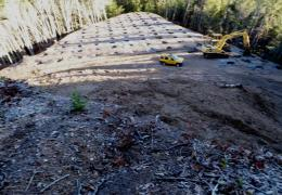 Before: Un-permitted hilltop grading for marijuana cultivation has caused erosion and degraded water quality in Outlet Creek.
