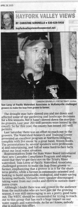 Tom Leroy of Pacific Watershed Associates, discussing land stewardship (Courtesy of The Trinity Journal)