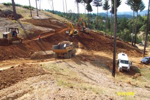 Heavy Equipment is used to restore environmental damage caused by unpermitted grading and road construction.