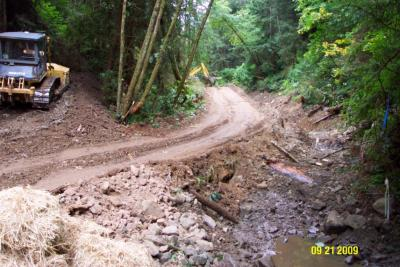 Before: Legacy streamside logging road in Rocky Gulch was reopened for heavy equipment restoration work