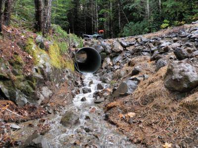 After: A properly sized culvert is installed at the natural channel grade, minimizing the volume of fill in the crossing