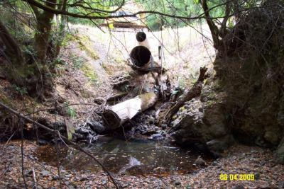 Before: Primary stream crossing culvert is undersized and set too high in the fill, creating a barrier to upstream fish passage.