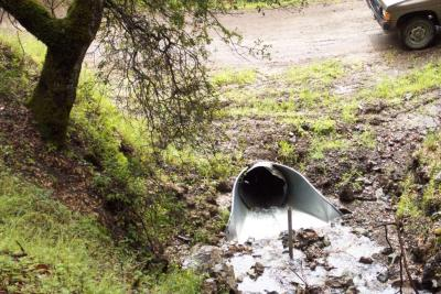 After: A flared inlet paired with a single post trash rack increases effective culvert capacity and decreases plug potential.